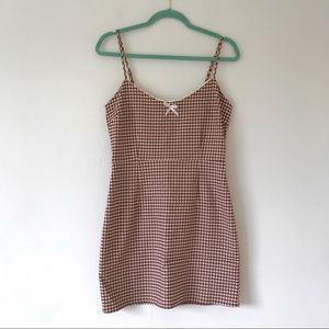 Urban Outfitters Brown Gingham Mini Dress